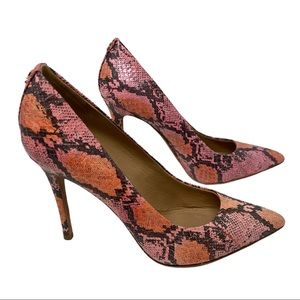 Coach Harlee pink Snake embossed leather pumps